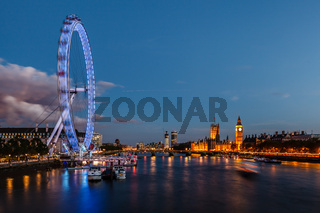 London Skyline with Westminster Bridge and Big Ben in the Evening, United Kingdom