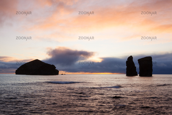 Coast and rocks at Mosteiros,Azores