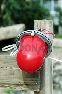 Red warning light which enclosing the ditch, where the repair of water pipes
