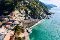 View to the Vernazza. Small coastal village in the Italian region of Liguria, Cinque Terre.
