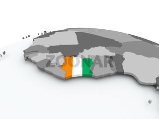 Flag of Ivory Coast on globe