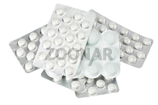 white pills in blister package isolated