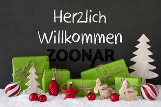 Christmas Decoration, Cement, Snow, Herzlich Willkommen Means Welcome