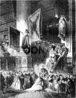 An interior view of the Church of Delft, in the sixteenth century, vintage engraving.