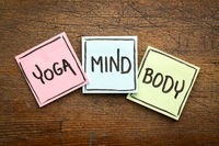 yoga, mind, and body word abstract
