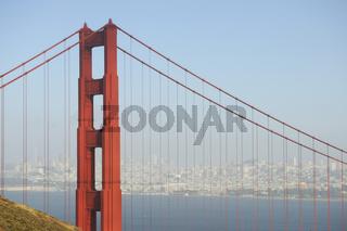 Golden Gate Bridge im Abendlicht , San Francisco, Kalifornien ,
