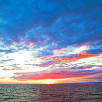 Colorful sundown over Baltic Sea