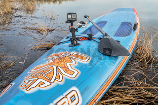 GoPro Hero camera on stand up paddleboard