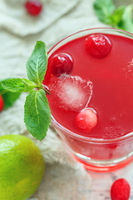 Cranberry refreshing drink and mint in glass.