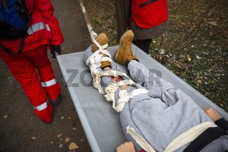 Paramedics mountain rescue service Broken leg