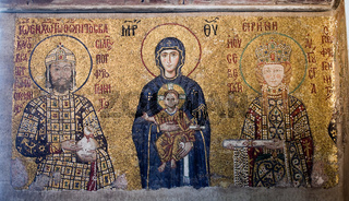 Byzantine mosaic from the Hagia Sophia Cathedral in Istanbul, Turkey
