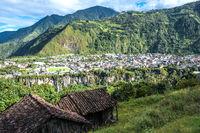 City of Baños de Agua Santa in the Andes of Ecuador