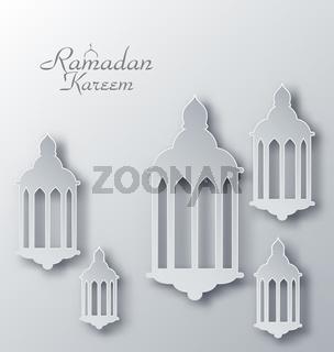 Paper Arabic Lamps with Shadows for Ramadan Kareem