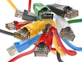 Computer network LAN cables rj45 of different colors.  Imternet connections choice concept.