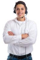 Junger Mann mit Headset lachen Telefon Call Center Agent Business Freisteller