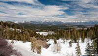 Panorama of Sierra Nevada mountains and Mammoth lakes