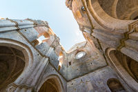Internal view of the ruins of Medieval San Galgano Abbey near Siena, Italy