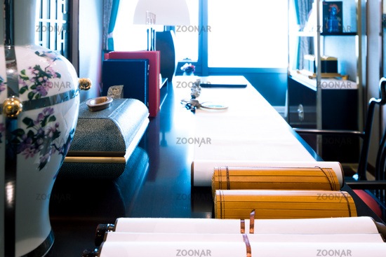 long table in modern study