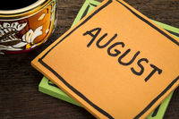 August reminder note with coffee