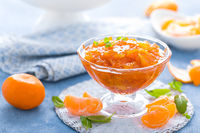 Tasty mandarin orange jam. Tangerine confiture, marmelade.