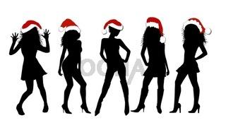 Models mit Weihnachtsmützen Silhouetten ausgeschnitten
