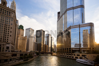 Chicago River Skyline and Trump Tower