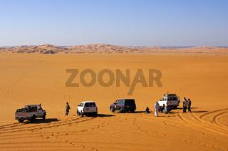 Wüstenparkplatz, Sahara, LIbyen
