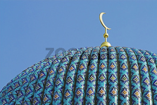 The top of the tiled dome With Arabic mosaics of the ancient mosque in Saint Petersburg