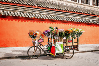 Flower trade stand.