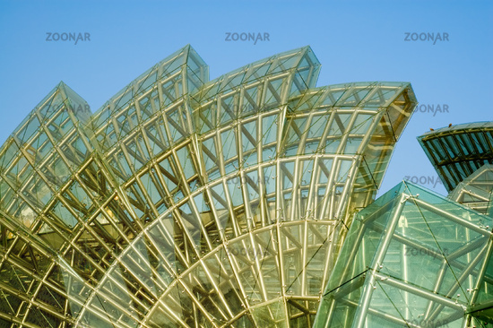 Abstract green glass of petals of lotus shaped architecture