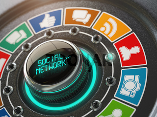 Social network and media concept. Switch knob with social network icons.
