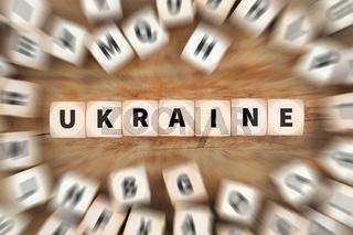 Ukraine Konflikt Krise Würfel Business Konzept