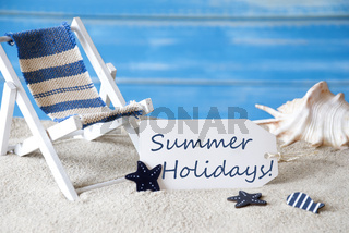 Label With Deck Chair And Text Summer Holidays