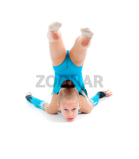 little girl makes gymnastic