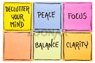 Declutter your mind concept