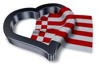 flagge von bremen und herzsymbol - 3d illustration