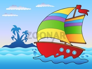 Cartoon sailboat near small island - color illustration.