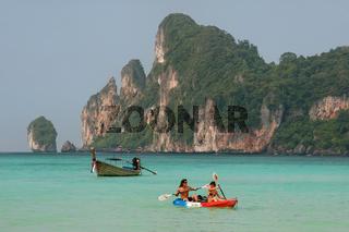 People kayaking at Ao Loh Dalum on Phi Phi Don Island, Krabi Province, Thailand