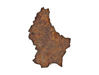 Karte von Luxemburg auf rostigem Metall - Map of Luxembourg on rusty metal