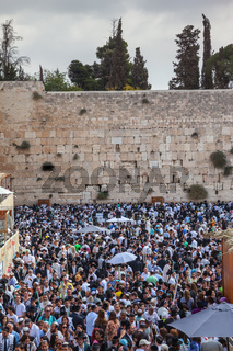 The Western Wall of the Temple filled with people