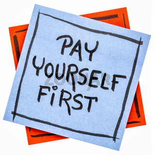 pay yourself first - reminder note