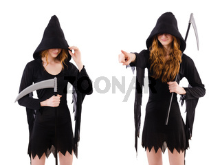 The young witch with scythe isolated on white