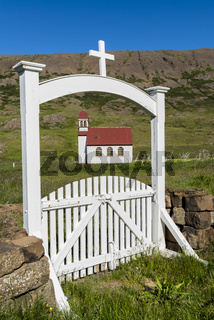 Church at Gufudalur-Nedri with Gate in Iceland