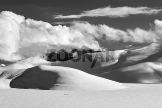 Piana of Castelluccio in winter in black and white
