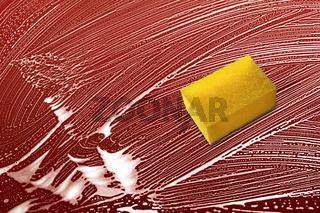 Gelber Schwamm, weisser Schaum, rote Flaeche