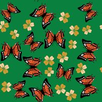 Butterfly and flower seamless pattern 672