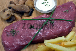 Steak of very red ox with its cream