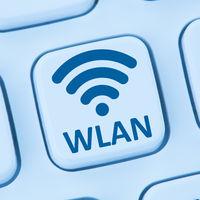WLAN oder WiFi Hotspot Verbindung online Internet blau Computer web