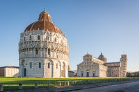 Pisa Baptistery, the Pisa Cathedral and the Tower of Pisa