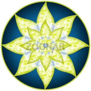Mandala Grün Blau Blume